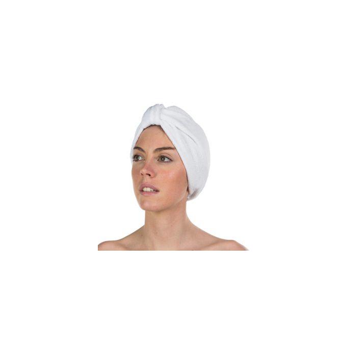 Bonnet turban éponge avec noeud - Blanc
